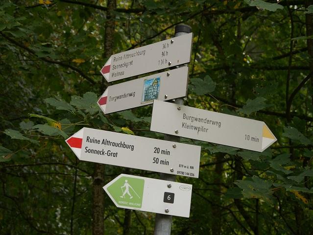 Wegweiser zur Ruine Alttrauchburg