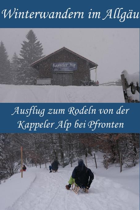 Winterwanderung zum Rodeln von der Kappeler Alp bei Pfronten im Allgäu