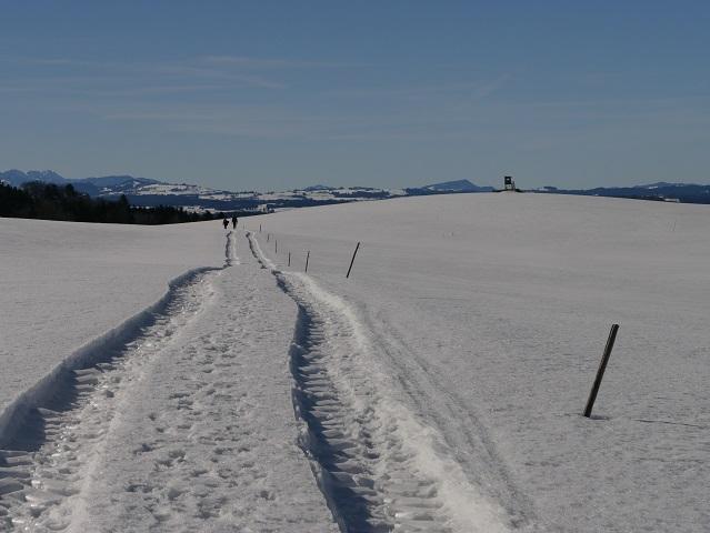 Feldweg vom Auerberg nach Stötten im Winter