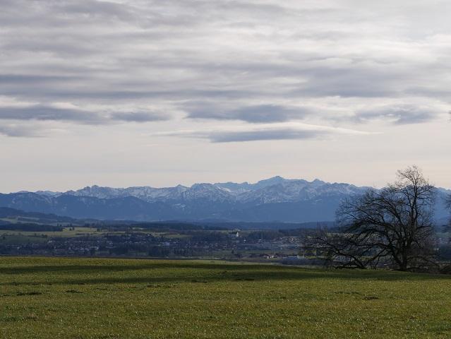 Aussicht vom Mangberg auf Marktoberdorf und die Berge