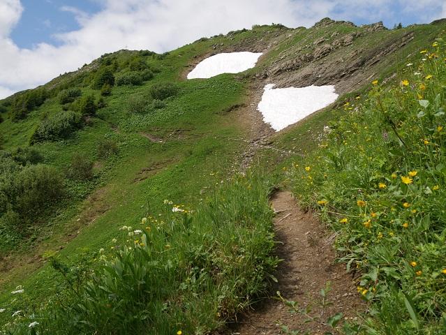 Bergtour aufs Steinmandl - Schneereste unterhalb des Gipfels