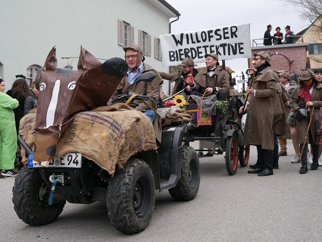 Willofser Bierdetektive auf dem Faschingsumzug Obergünzburg 2020