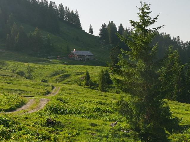 Blick auf die Burgl-Hütte bei Hittisau