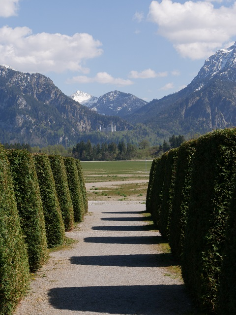 Blick durch den Barockgarten am Festspielhaus auf Neuschwanstein