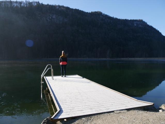 Badesteg am Schwansee im Winter
