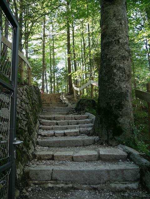 Steintreppen auf dem Weg aus der Pöllatschlucht zur Marienbrücke