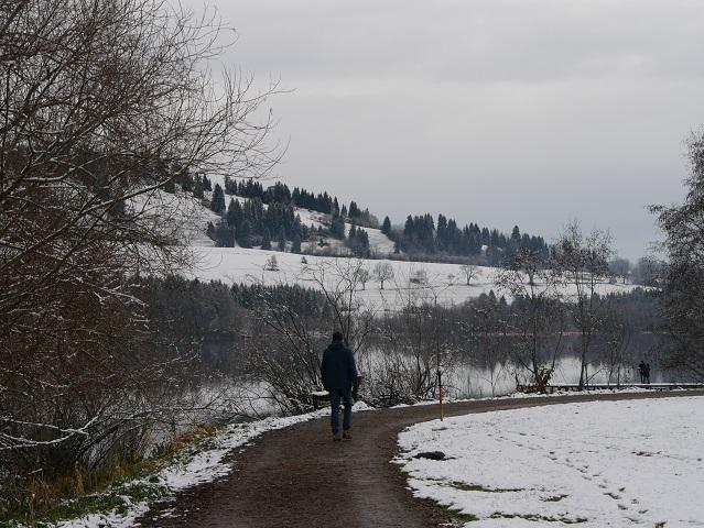 Wanderweg am Südufer des Grüntensees im Winter
