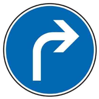 Vorgeschriebene Fahrtrichtung rechts - Verkehrszeichen nach StVO