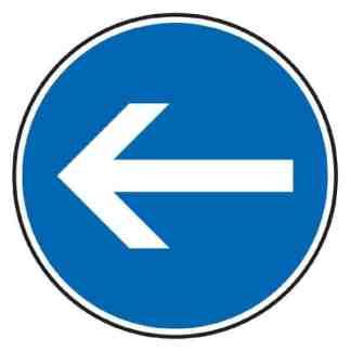 Vorgeschriebene Fahrtrichtung hier links - Verkehrszeichen nach StVO