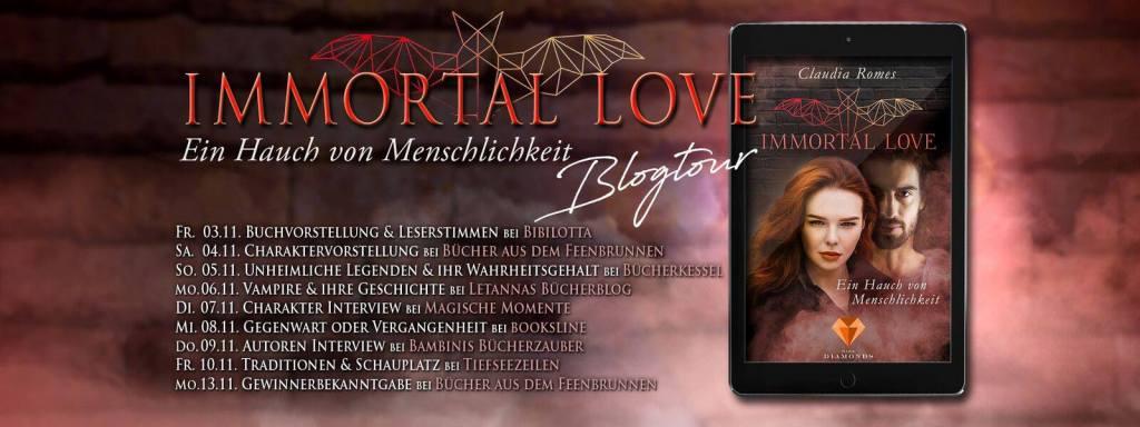 Ankündigung BLOGTOUR zu Immortal love – Ein Hauch von Menschlichkeit von Claudia Romes