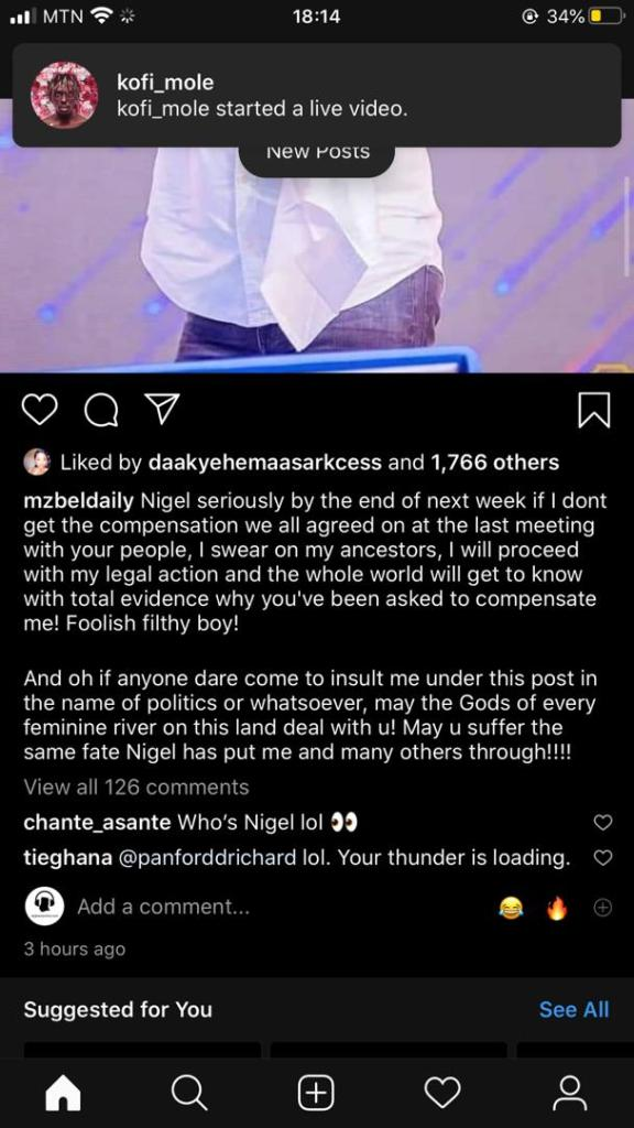 """Popular musician Mzbel, known for her 16 years hit song which featured Castro back in the early 2000s, took to her Instagram page and threatens those who abuse her with """"antoa"""" and she called Prophet Nigel A foolish boy."""