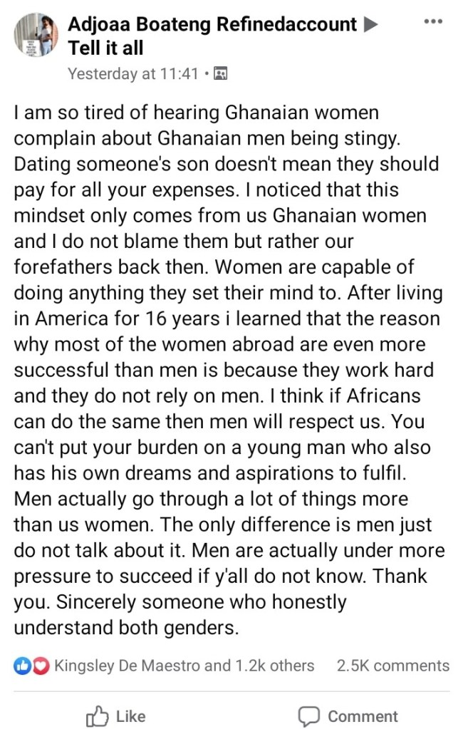 """""""Ghanaian Ladies Should Work And Stop Saying Their Boyfriends Are Stingy"""" - Lady Advises"""