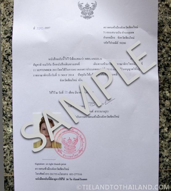 Thai Residence Certificate Sample