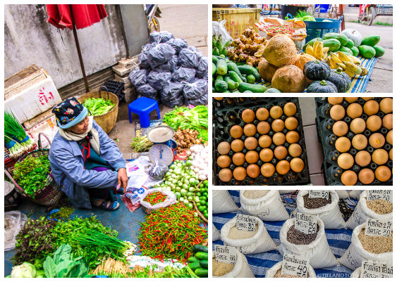 Woman Selling Vegetables at the Thai Food Market in Udon Thani, Thailand