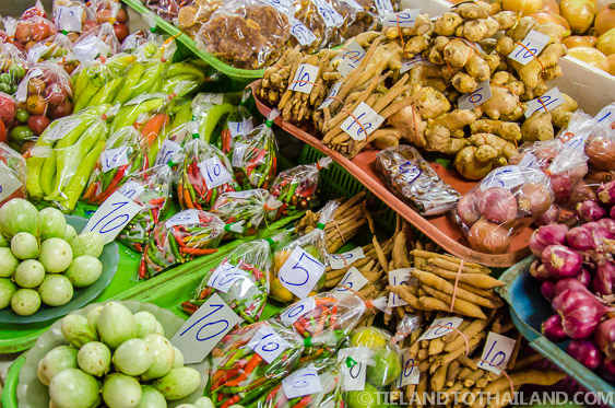 Small Bags of Thai Vegetables at the Market