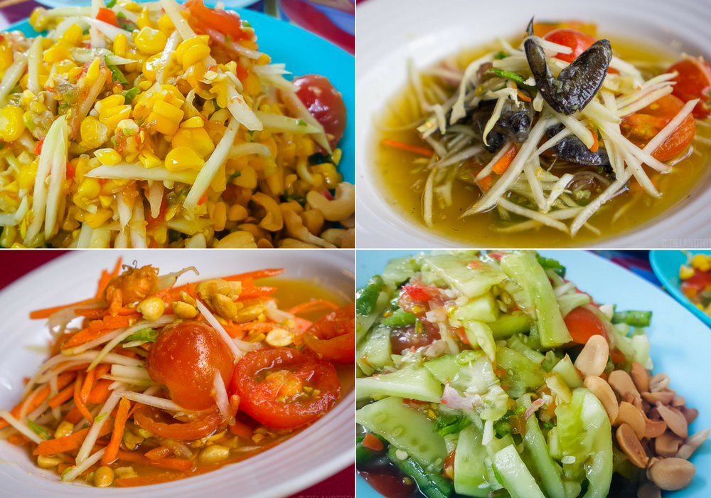 A variety of sum tum: made with corn, fermented crab, carrot, and cucumber