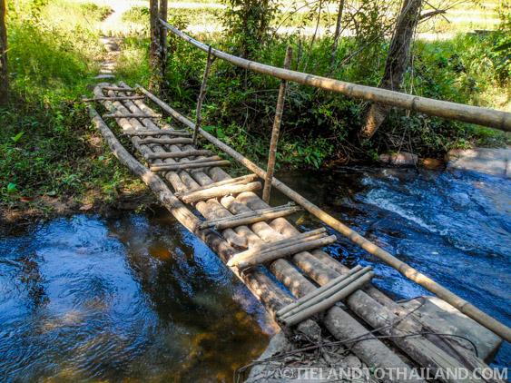 A homemade bridge to get to the Elephant Jungle Sanctuary