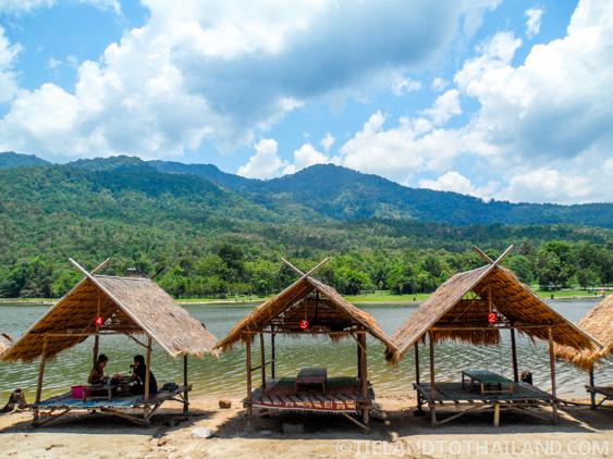 Shaded picnic areas at Huay Tung Tao Lake