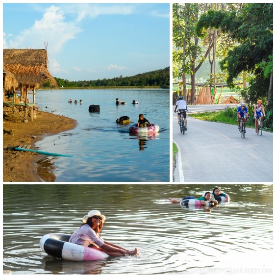 Swimming and biking at Huay Tung Tao Lake