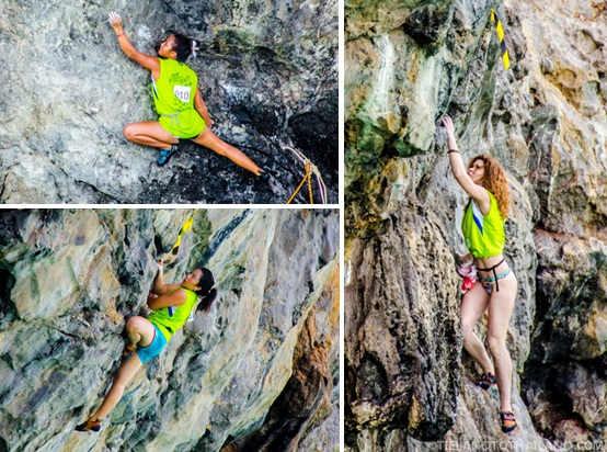 Female rock climbers at Krabi Rock and Fire International Contest