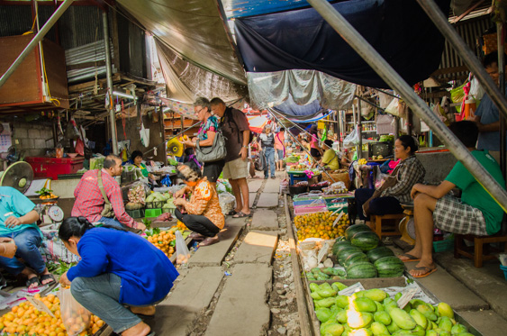 Shoppers at the Maeklong Railway Market