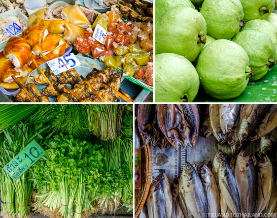 Seafood, meats, fruits, and veggies at Maeklong Railway Market