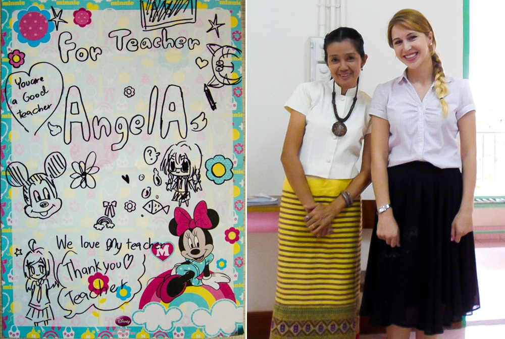 Typial day teaching in Thailand with my Thai assistant