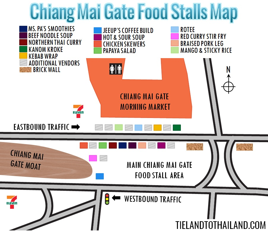 Chiang Mai Gate Food Stalls Map