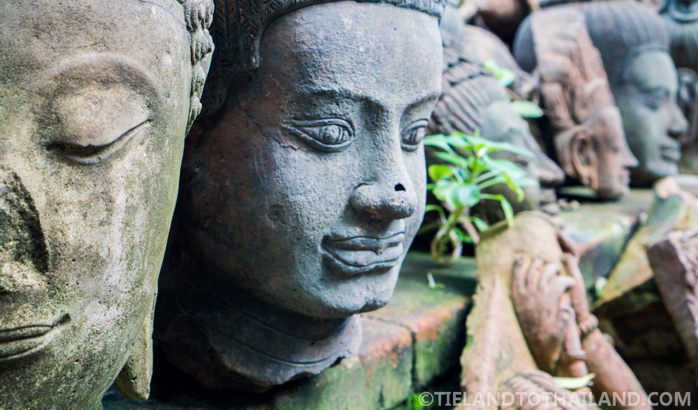 Buddha heads at the Terracotta Arts Garden in Chiang Mai, Thailand