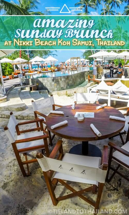 Nikki Beach Brunch in Koh Samui, Thailand is epic. Mounds of delicious food followed by a poolside party. Love it! | Tieland to Thailand
