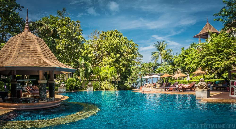 Gorgeous pool and swim up bar at Crown Lanta, a high-end resort on Koh Lanta