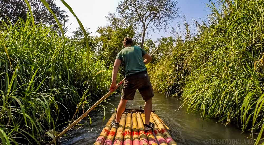 Self propelled bamboo rafting along the Mae Wang in Chiang Mai, Thailand