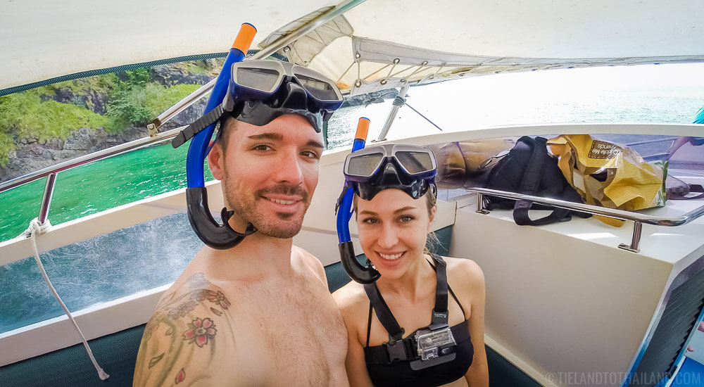 Getting ready to snorkel at Koh Rok, Thailand with Opal Speedboat