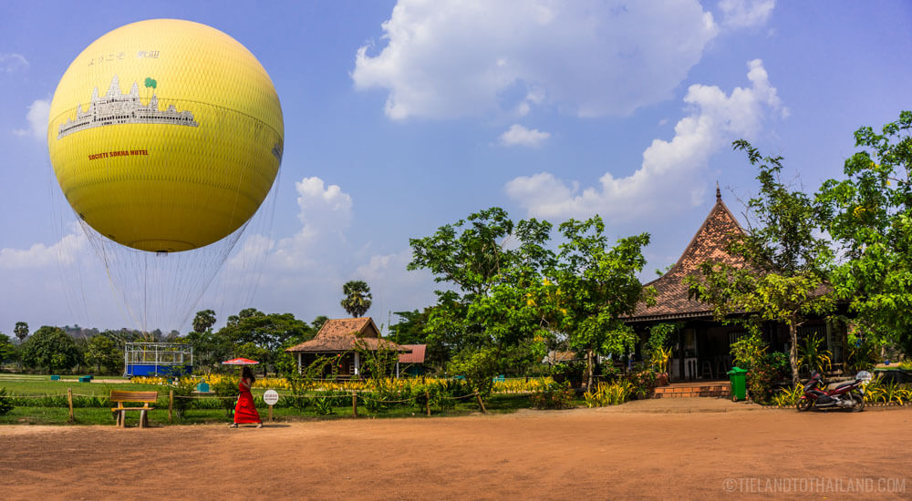 View Angkor Wat via a tethered hot air balloon.