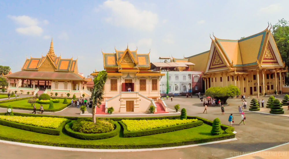 Manicured gardens of the waterfront Royal Palane in Phnom Penh Cambodia