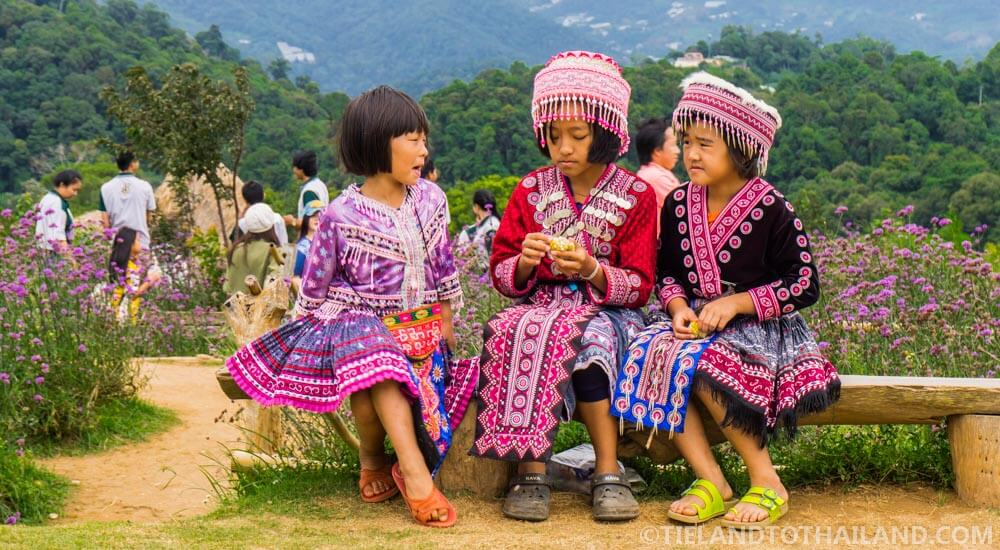 Young Hmong hill tribe girls seen during our trip to Mon Cham in Chiang Mai, Thailand