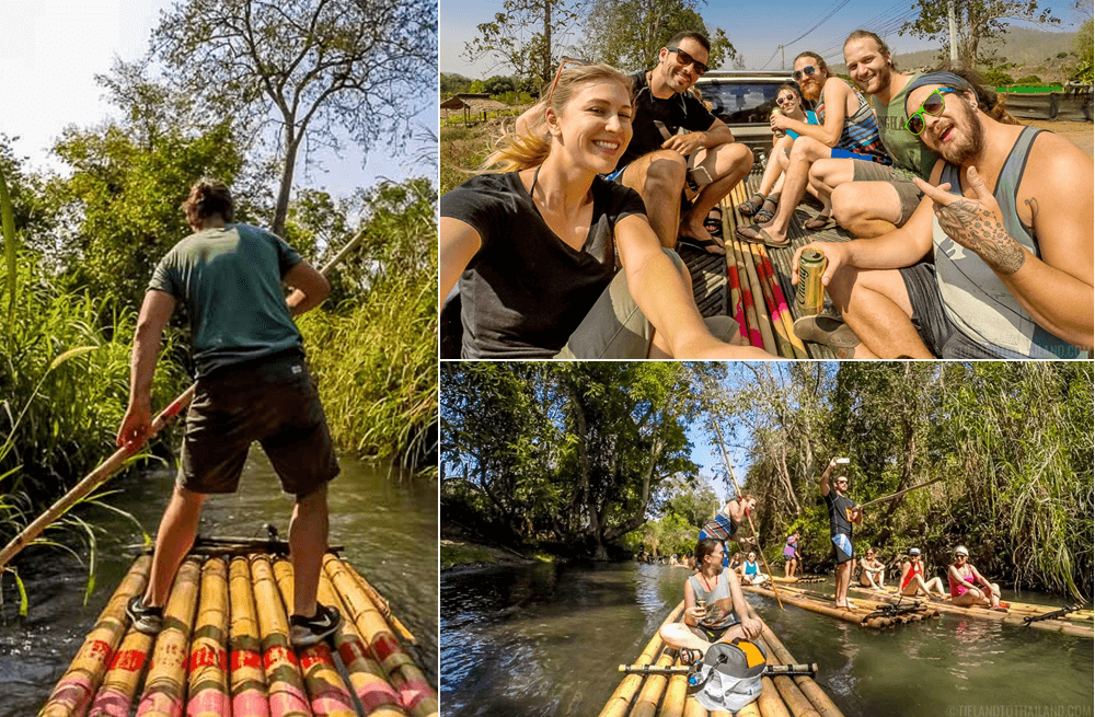 One of the most relaxing Chiang Mai day trips is bamboo rafting down the Mae Wang