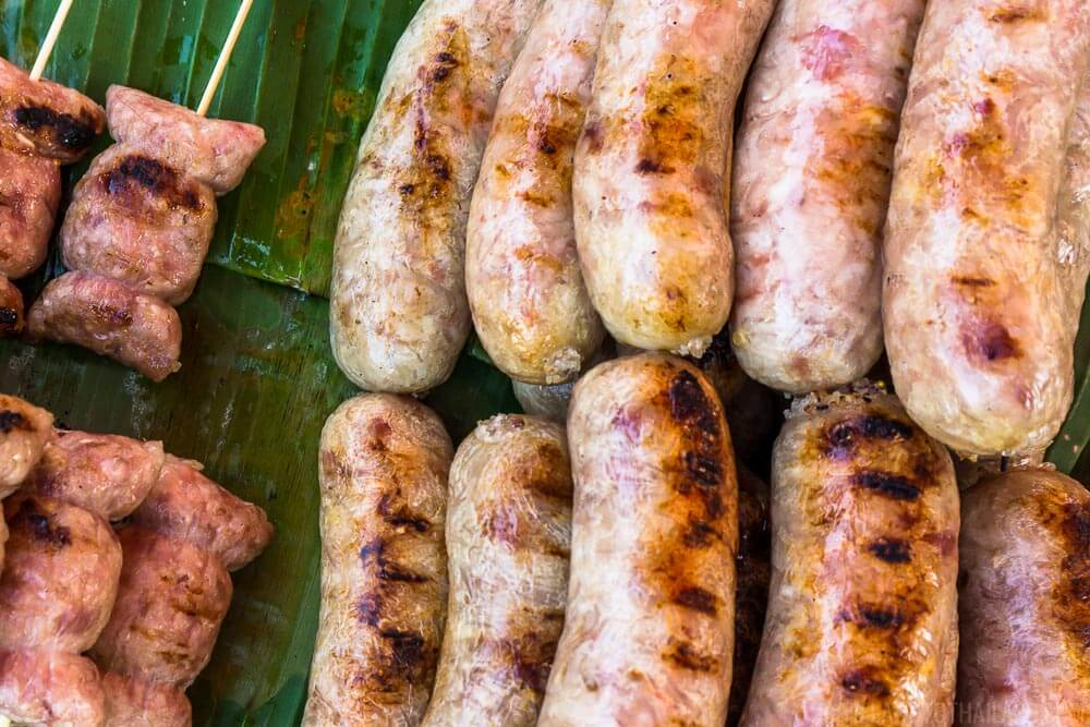 Fermented pork sausage is a popular type of Isaan Thai food