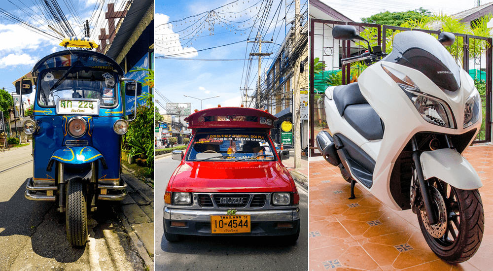 Cost of living in Chiang Mai: tuk tuks, songthaews, motorcycle