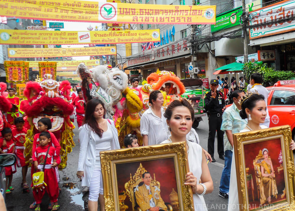 Parading down Yaowarat Road at the Bangkok Vegetarian Festival