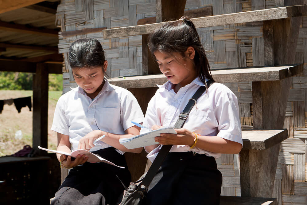 Thai Girls Learning English in Thailand