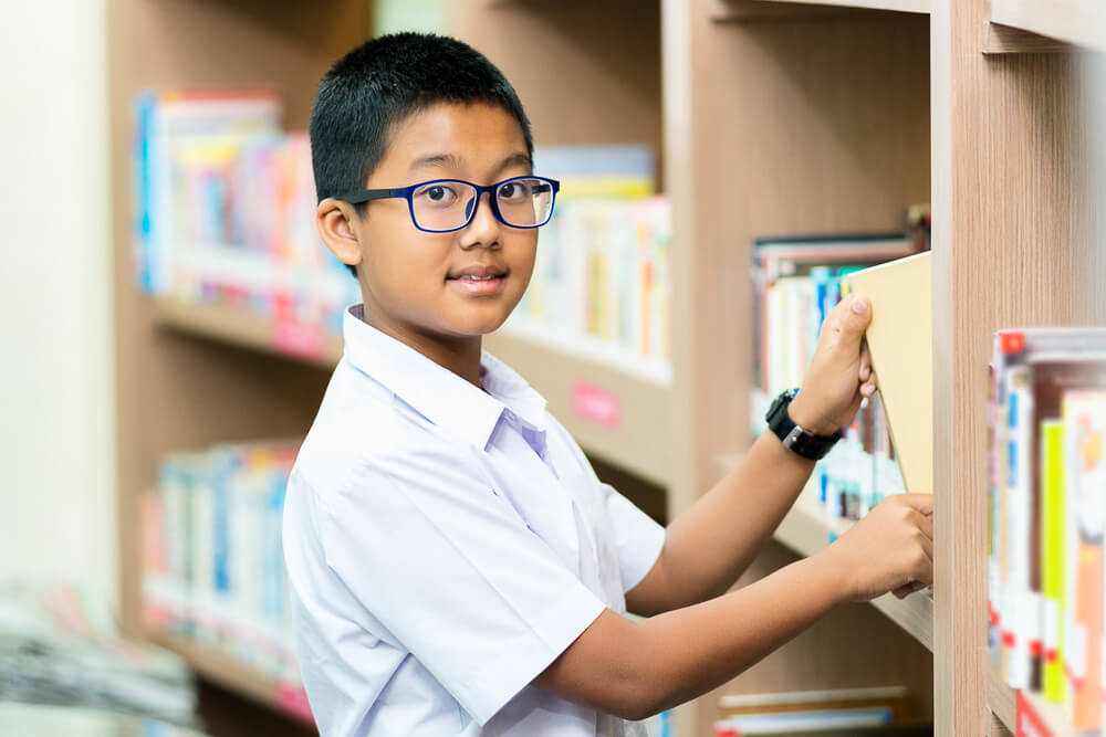 Thai Student in Library