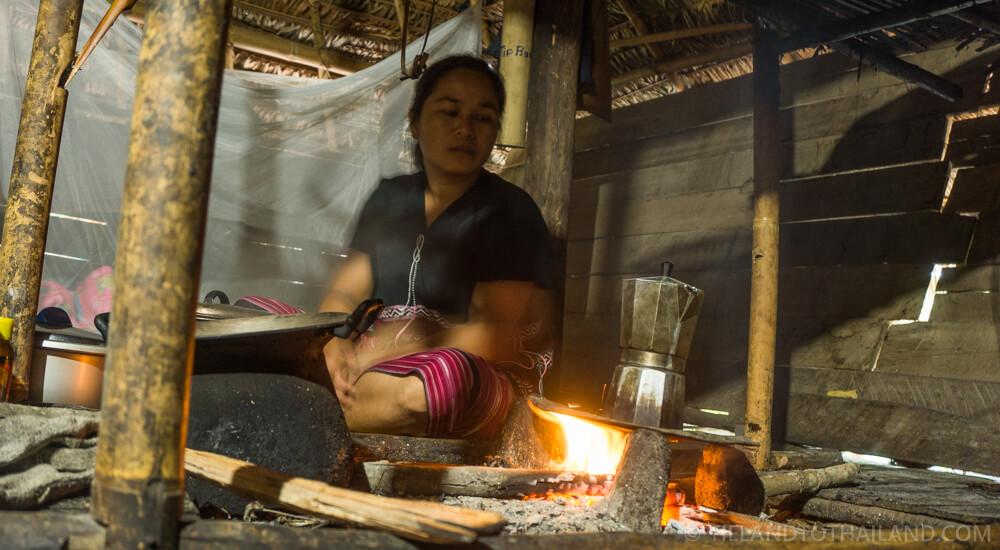 Morning coffee at a Chiang Mai hill tribe tour and homestay