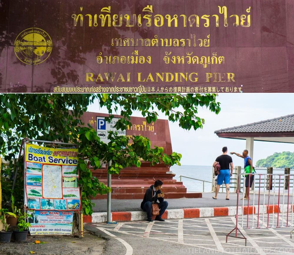 Look for A-frame 'Boat Service' signs and board a longtail boat at the Rawai Landing Pier in Phuket