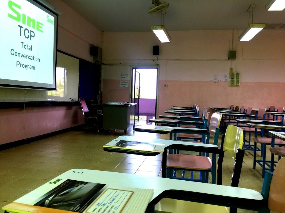 A typical classroom using Sine Education, a reputable teaching agency in Thailand