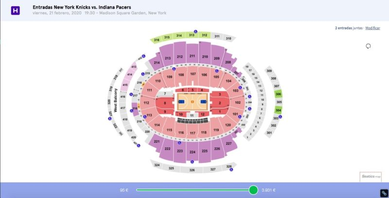 Madison Square Garden Sectores Entradas NBA