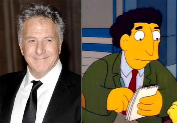 Dustin Hoffman junto a su personaje en Los Simpsons.