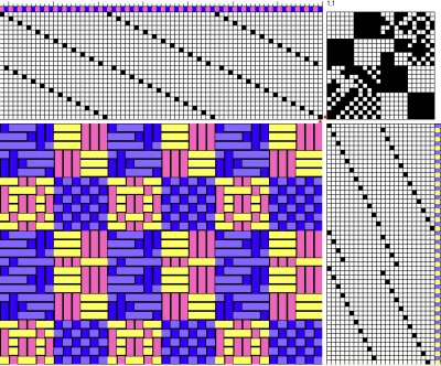 The same doubleweave draft showing the top face of the cloth