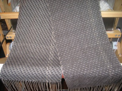 Scarf woven in silver silk/yak warp and black cashmere weft