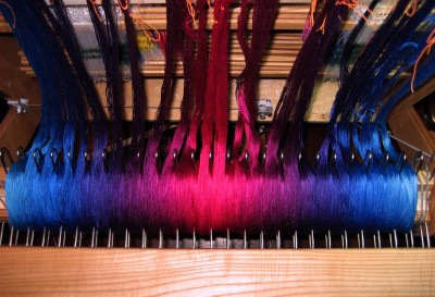 Warp beamed (finally!) onto the loom